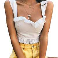 2018 new fashion slim white camisole sexy crop tops tank women casual back zipper halter hollow out lace top