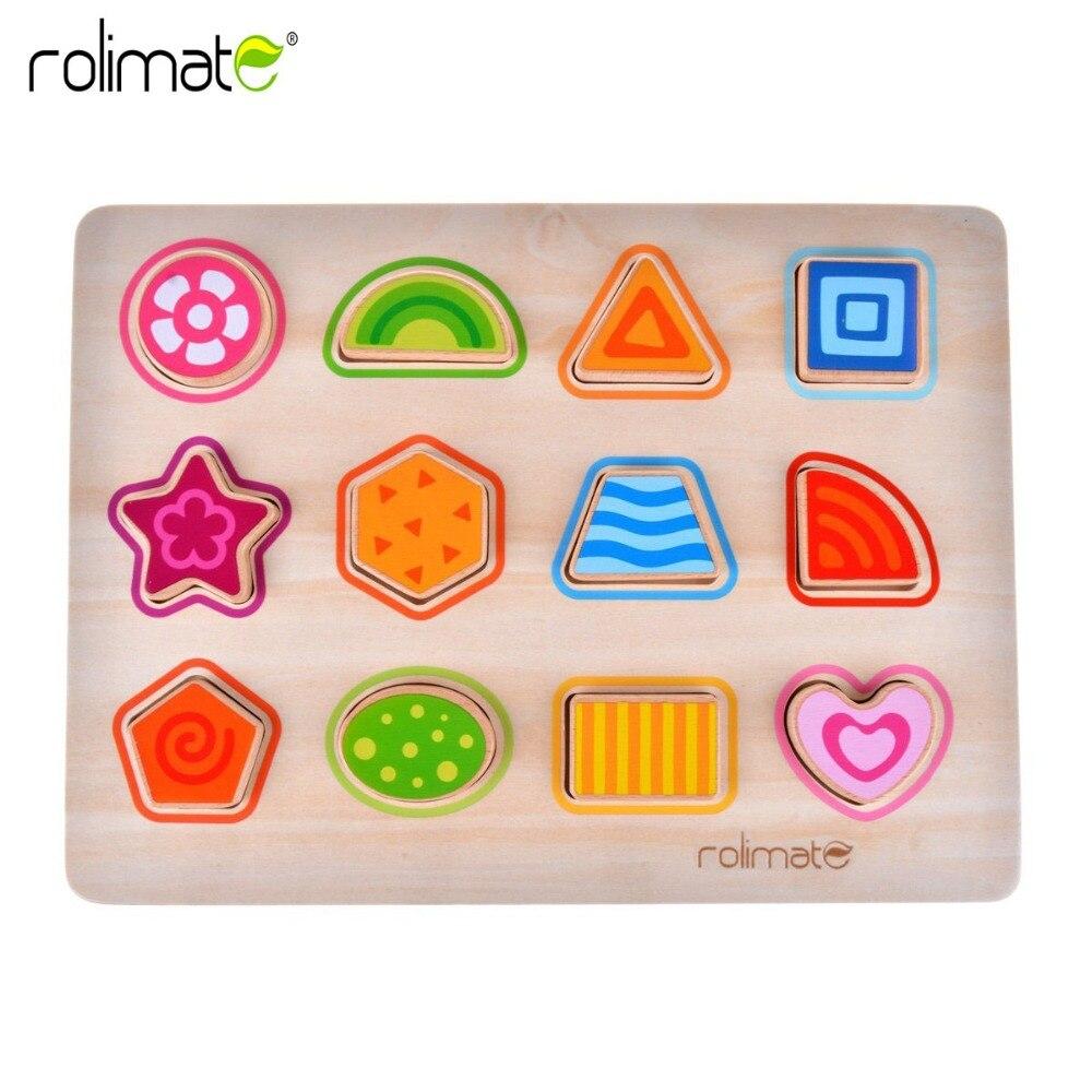 Rolimate деревянные развивающие игрушки для детей многофункциональный раннего обучения геометрический Форма головоломки