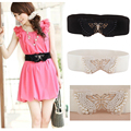 Women Fashion Pearl Bead Metal Butterfly Buckle Lace Elastic Stretchy Waist Belt BLTLL0012