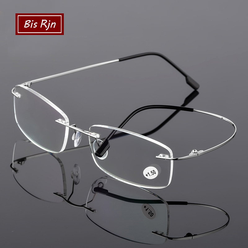 Rimless Reading Glasses Man Women Titanium Alloy Fold Prescription Eyeglasses +1.0 +2.0 +3.0 +4.0 Diopter Z3002