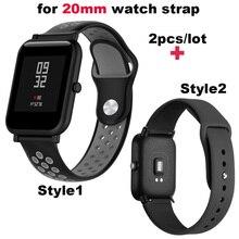 Купить с кэшбэком Silicone Bracelet Strap 20mm Smart Watch Correa Band for Xiaomi Huami Amazfit Bip Lite for Samsung Gear S2 S4 for Huawei Watch 2