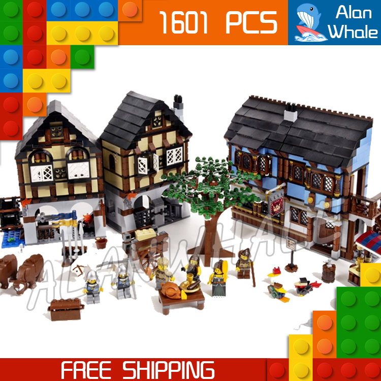 1601pcs Castle Series Medieval Market Village 16011 DIY Model Building Kit Blocks Gifts Children Toys brick Compatible with Lego 890pcs new ninja lair invasion diy 10278 model building kit blocks children teenager toys brick movie games compatible with lego