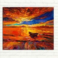 هاندبينتيد الحديثة حريق الأحمر الغروب توهج النفط اللوحة مشهد جدار للمنزل غرفة المعيشة الجدار الديكور