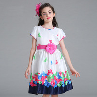 2017 Summer Girls Print Dress Butterfly Floral Pattern Princess Dresses 2 8 Years Formal Party Dress
