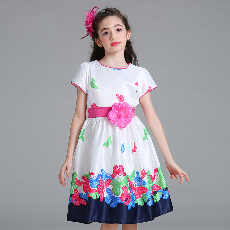2018 Summer Girls Print Dress Butterfly Floral Pattern Princess - Vestiti per bambini