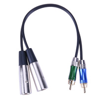 Audio Adapter Cable Metal Connector 3pin 2 XLR Male To 2 RCA Male PVC PE Cables