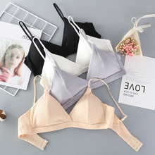 Women Triangle Cup Thin Pad Bras Cotton Sexy Lingerie Push Up Bra Solid Color Striped Wireless Female  Underwear