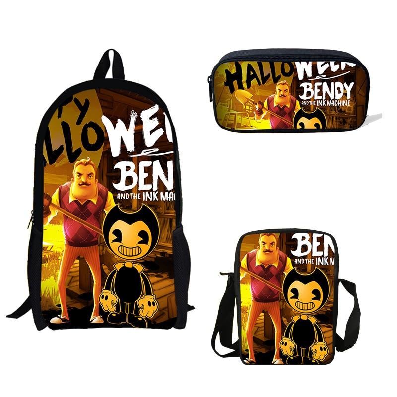 16-inch Hello Neighbor 3Pcs Set Backpack Shoulder Bag Pencil Bag Set Popular Game Print School Bag Kids Boys Children Book Bag