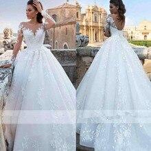 Винтажные, с длинными рукавами, кружевное платье А-силуэта с свадебное платье с круглым вырезом Тюль с аппликацией с низким вырезом на спине, с длинным шлейфом, платье невесты, свадебное платья класса люкс