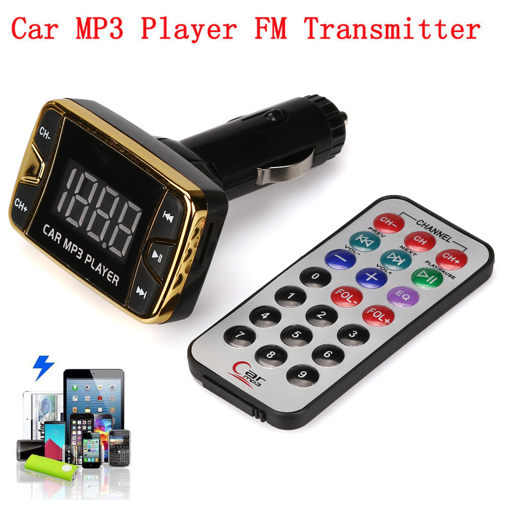 DC 12V 2GB MP3 Player Wireless FM Transmitter Modulator Car Kit USB SD Audio Player Support TF Cards With Cigarette Lighter #S