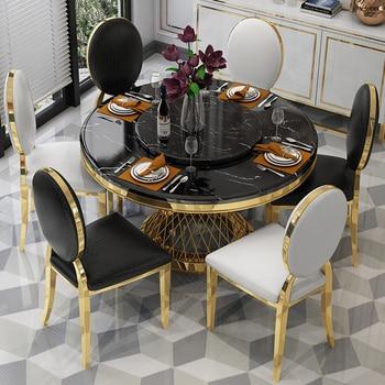 Acero inoxidable juego de comedor muebles para el hogar minimalista moderna  mesa de comedor de mármol y 4 sillas mesa de cena muebles comedor
