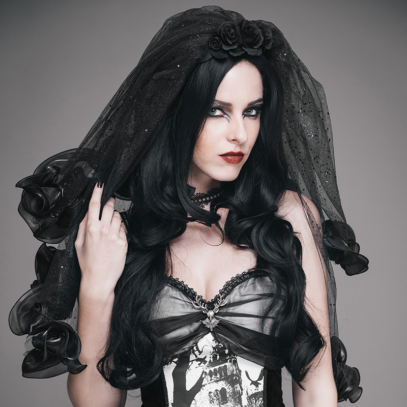EVA LADY Women's Gothic Roses Mantilla Steampunk Party Prom Black Headwear Elegant Veil платья eva платье