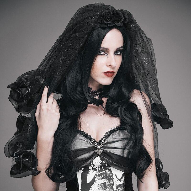 EVA LADY femmes gothique Roses mantille Steampunk fête bal noir chapeaux élégant voile