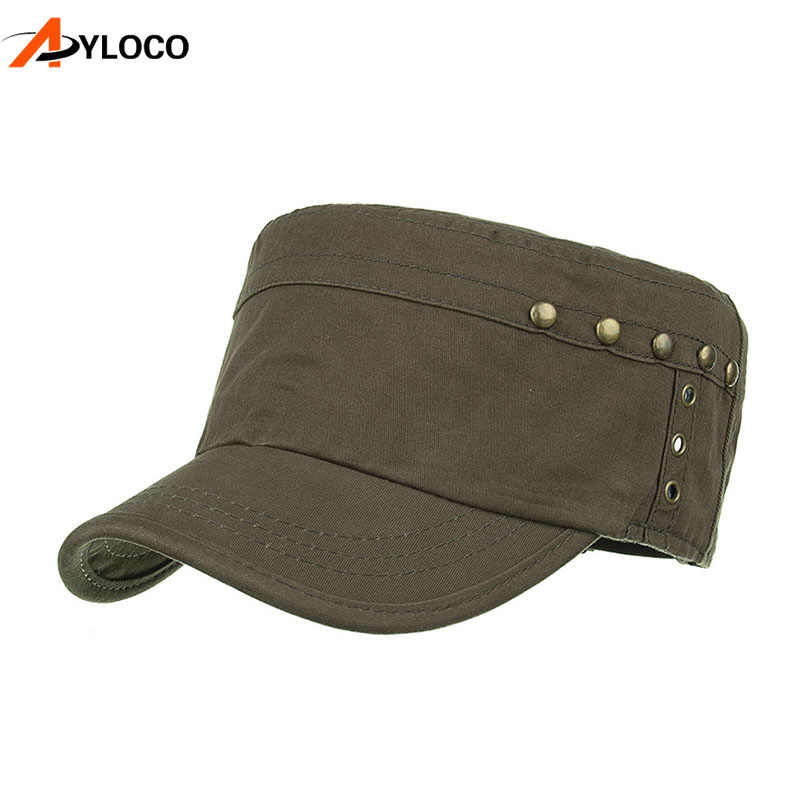 العلامة التجارية الصيف الخريف قبعة عسكرية الرجال القطن شقة جيش الأعلى قبعة للرجال قابل للتعديل التكتيكية كاب القبعات العسكرية الكلاسيكية الصلبة اللون