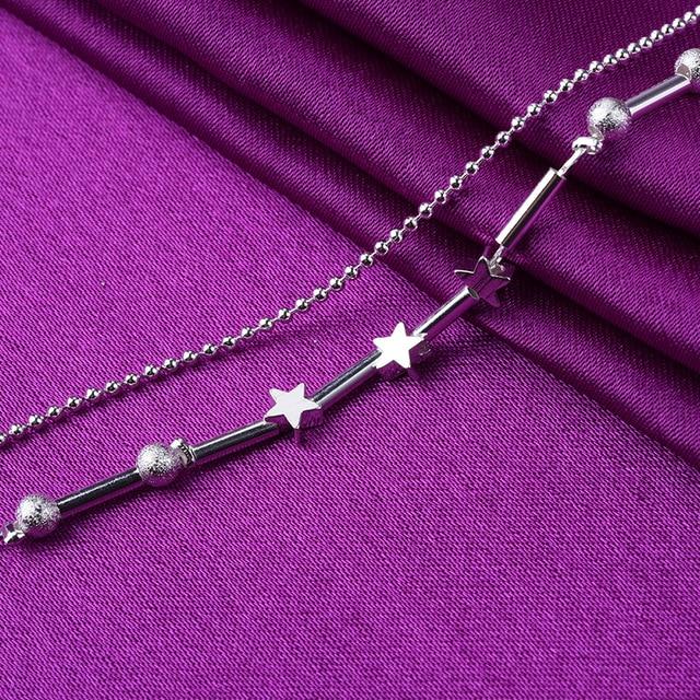 Classique Double couche étoile perles rondes 925 en argent Sterling Bracelets porte-bonheur & Bracelets pour femmes mariage fête bijoux A174