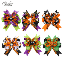 Oaoleer Hair Accessories 4.5 Halloween Bows for Girls Pumpkin Printed Ribbon Hairgrips Resin Bowknot Clips