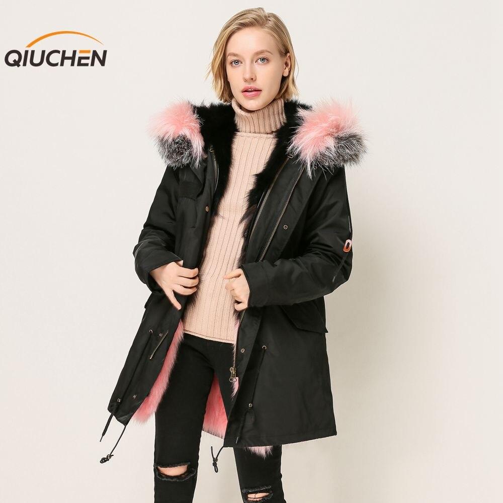 QIUCHEN 2018 Nouvelle veste d'hiver longueur 88 cm livraison gratuite de haute qualité réel fourrure de renard veste imperméable doublée peut enlever parka