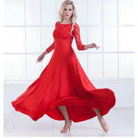 New Modern Dance Dress Long Sleeve Ballroom Dance Costume National Standard Dance Dress Waltz Dress Performance Clothing B 6215