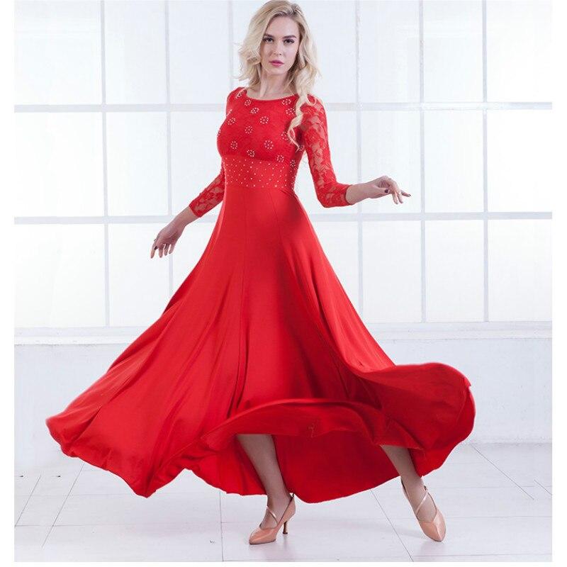 New Modern Dance Dress Long Sleeve Ballroom Dance Costume National Standard Dance Dress Waltz Dress Performance Clothing B 6215