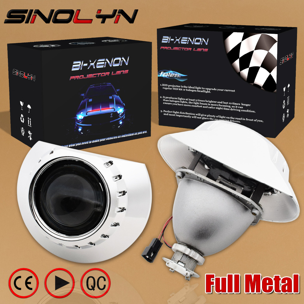 SINOLYN For BMW E46 M3 ZKW wagon/sedan/coupe 2.5'' HID Bi xenon Lens Projector Headlight Headlamp Retrofit DIY H7 Full Metal Kit epman universal black 3 76mm polished aluminum fmic intercooler piping kit diy pipe length 600mm for bmw e46 ep lgtj76 600