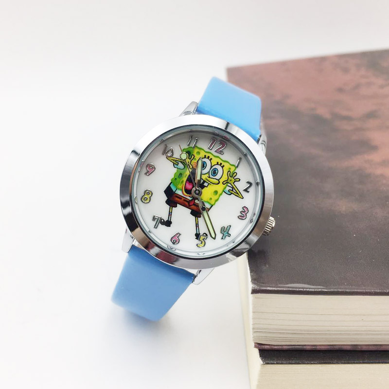Kids Watch Cartoon SpongeBob Watches For Children Girls Boys Students Quartz Wrist Watch PU Leather Luminous Hands Wristwatch