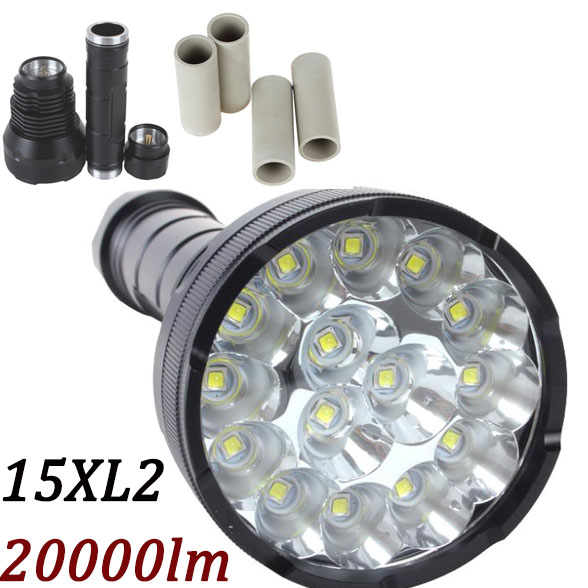 ФОТО 20000 Lumens Powerful LED Flashlight Lanterna led linternas led Torch 15 x CREE XM-L2 LED Waterproof Super Bright LED Flashlight