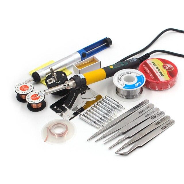 Electric Soldering Iron kit 110W 220V Temperature Adjustable  EU PLUG silicone power cord solder sucker wire paste