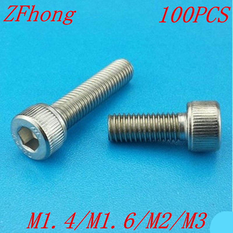 (100 pc/lot) M1.4,M1.6,M2,M2.5,M3 *L sus304 stainless steel hexagon socket head cap screw / model auto diy screw,DIN912 akg pae5 m