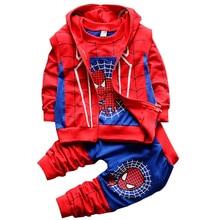 2018 New Kids Cotton Clothes Children Boys Spring Autumn Cartoon Spiderman 3pcs Clothing Set Hoody Vest Shirt Pants sport suit