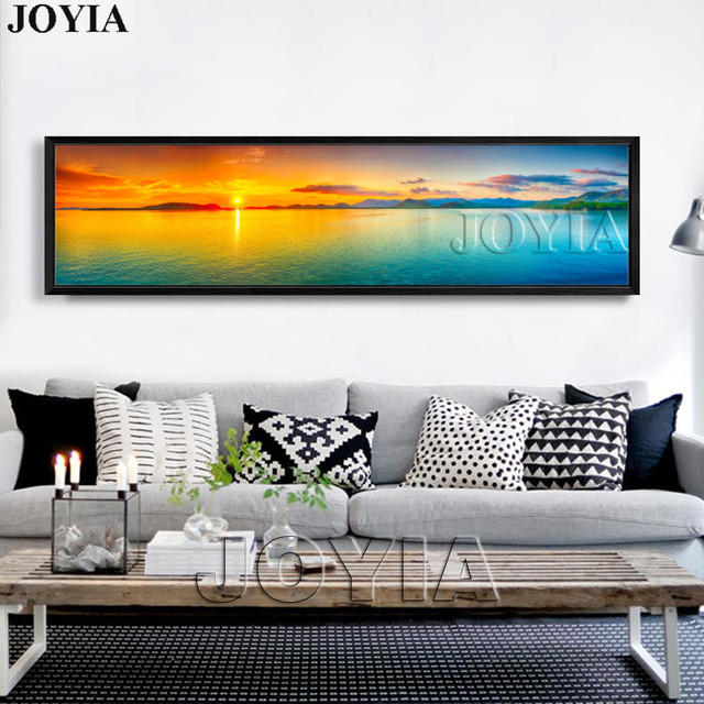 Nature Canvas Wall Art Landscape Painting Large Sunset Sea Panorama  Seascape Decor Picture Panel Boards For