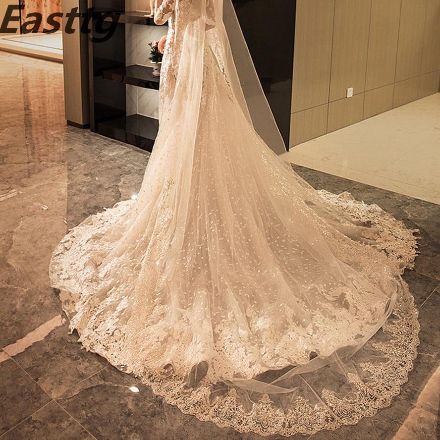 Sparkling White/Ivory Wedding Veil 3M 1T With metal Comb Lace Mantilla Bridal Veils Wedding Accessories Veu De Noiva