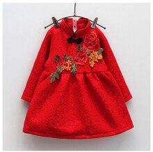 2016 рождественский щелкунчик девушка кружева вышивки чонсам добавить бархатное платье корейских детей китайский стиль красные платья 5 шт.
