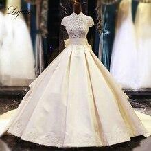 Liyuke Lustrous Satin A-Line Wedding Dress Bride Dresses