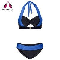TOPMELON Bikini Swimwear Women Sexy Lace Up Push Up Plus Size Solid Beachwear Bathing Suit Swimsuit