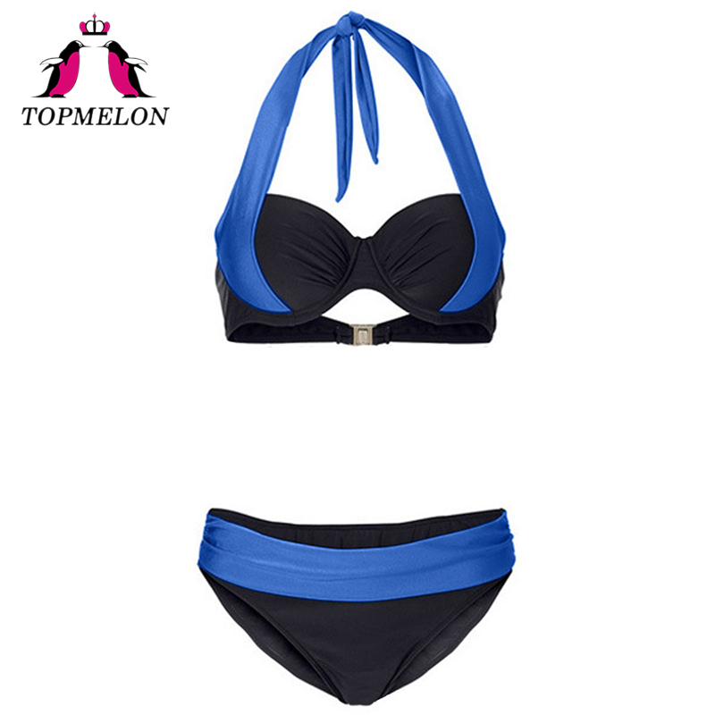 TOPMELON Bikini Swimwear Women Sexy Lace-Up Push Up Plus Size Solid Beachwear Bathing Suit Swimsuit Sexy Bikini Swimwear Female verzy women bikini sets push up bquinis sexy lacing adjustable large plus size solid wide belt 2017 summer beachwear for female