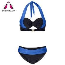 TOPMELON Bikini Swimwear Women Sexy Lace-Up Push Up Plus Size Solid Beachwear Bathing Suit Swimsuit Sexy Bikini Swimwear Female