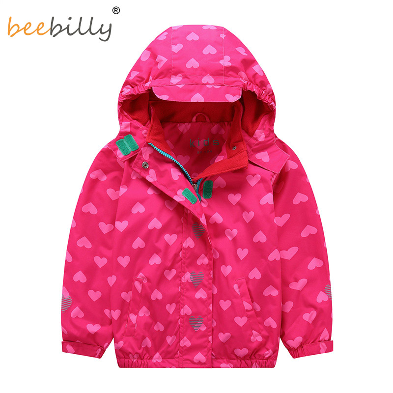 2018 Girls Jacket Printed Hooded Polar Fleece Windbreaker Baby Girl Coat Autumn Winter for Kids Long sleeve Outerwear Clothes