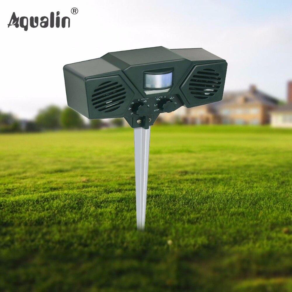 Eco friendly Dog Cat Repellent Dual Speaker Ultrasonic Repeller Animal Pest Control for Home Garden Lawn