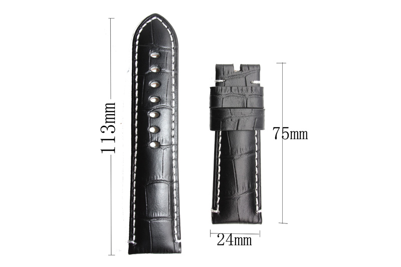24mm watchband Parnis black leather strap watch band for mens watches mechanical wristwatches