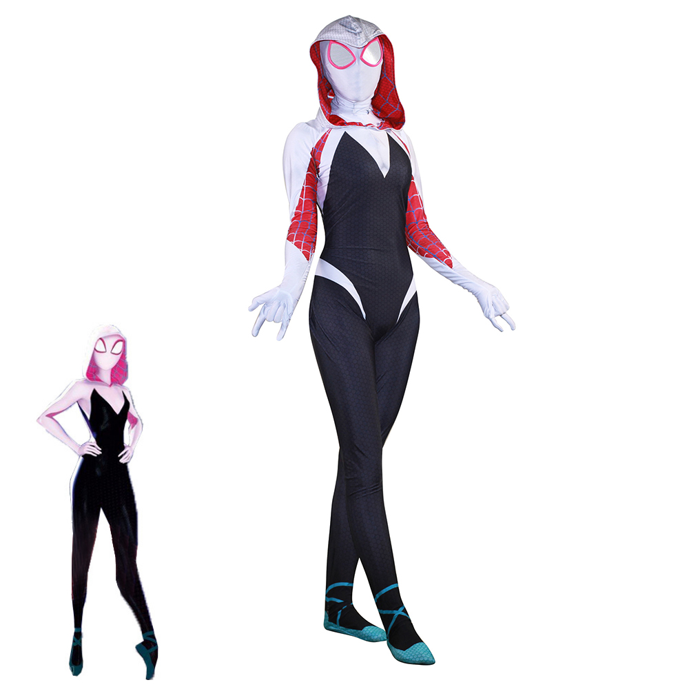 Women Gwen Stacy Spider-man Cosplay Costume Spiderman Zentai Superhero Bodysuit Venom Symbiote Spider Jumpsuits Halloween Suit