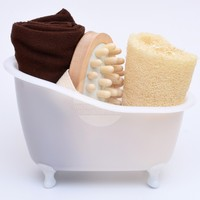 LEECO BATHROOM GOODS STORE NEW ARRIVAL Loofah Sponge Spa Massager Towel Bathroom Mini Bathtub Bath Set