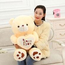 цена Teddy Bear Soft Doll Plush Toy  Love Bear Stuffed Animal Large Creative Bear Hold the Heart birthday gift онлайн в 2017 году