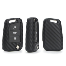 цена на Carbon Fiber Pattern Car Key Case Cover For Seat Ibiza Leon 2 3 Fr 5f Mk3 Altea Ateca Alhambra Toledo Cordoba Mii Key Ring Shell