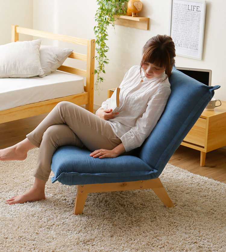 Modern Upholstered Furniture Chair Japanese Single Sofa Chair Armless Recliner Living Room Occasional Accent Chair Foldable