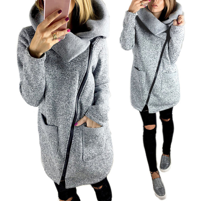 Женщины Осень Зима Случайный Теплый Долго Флисовой Куртки Slant Молнии Воротником Пальто Плюс Размер Женская Куртка