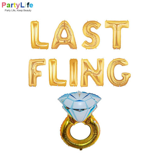 1Set 16inch Last Fling Before Ring Gold Silver Foil Balloons For Bachelorette Party Hens