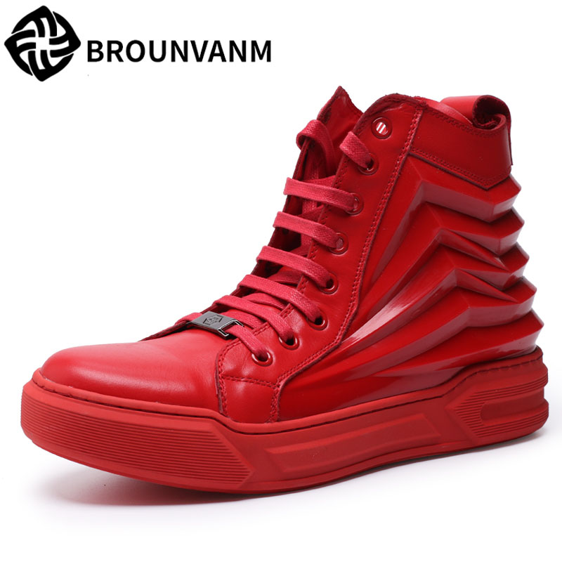 A song man high help shoes red shoes men fall Europe Martin leather boots British male boots fall trendboots in europe and america heavy bottomed martin boots british style high top shoes shoes boots sneakers