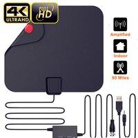 AH LINK 1080P 4K HD VHF UHF Indoor TV Antenna Digital HDTV Antenna with Amplified Booster 28dB ATSC TV Aerial Black