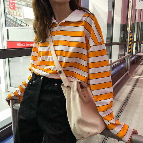Loose Casual Vintage  Striped Basic All Match College Wind Long Sleeve Turn Down Collar Female Women Basic T-shirts
