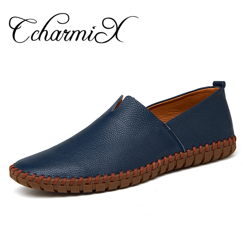 Genuine Cow leather Mens Loafers 2017 Fashion Handmade Moccasins Leather Men Flats Blue Slip On Men's Boat Shoe PLUS SIZE 38~47 simfer f66gl42001